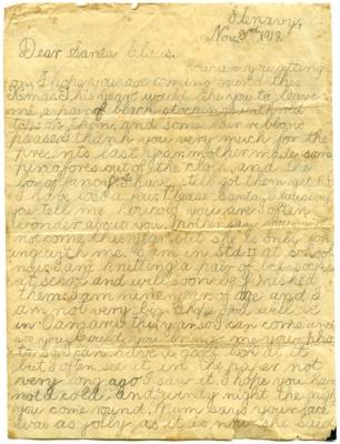 Letter to Santa, 1918; Gibson, Gladys; 1918; 2003-097-001/2