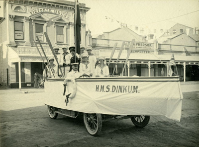 Waimate Peace Day Parade. HMS Dinkum float/boat on...
