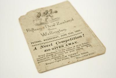 1893 Match Programme New Zealand vs Wellington; Unknown; 1893; A305