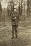 Untitled [full length portrait of a returned WWI serviceman with disfigured hand and amputated arm] ; Unknown; 1917-1919?; O.031469