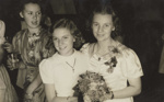 Joan Larsen and a girl at Joan's 21st birthday party