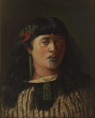 Portrait of a young Maori woman with moko; Steele, Louis John; 5/03/1905; 1995-0015-1