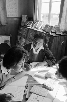 Girls studying in high school library