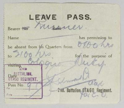 Leave Pass ; Otago Regiment; 1919; GH022234