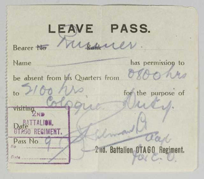 Leave Pass ; Otago Regiment; 1919; GH022234