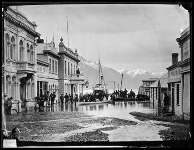 Ballarat Street, Queenstown, NZ, flooded 1878, Hart William P., 1878, C.014174