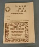 DIARY, HOMEWORK; Wanganui Girls' College; 1970s; 2008.62.2