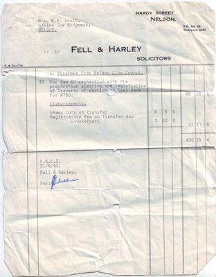 Legal document - Transfer of land; Fell & Harley; 1961; IH100.00346