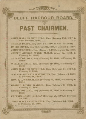 Honour Board, Bluff Harbour Board Past Chairmen. ; Unknown Maker; 1899; BL.BO10.2.0