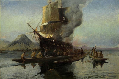 The Burning of the Boyd, Whangaroa Harbour, 1809, Walter Wright, 1908, 1908/1/3