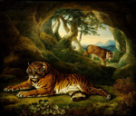 Two tigers in a rocky landscape, William Hodges, Sawrey Gilpin, circa 1773, 1957/17