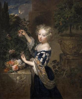 Girl arranging flowers, Casper Netscher, 1683, 1887/1/23
