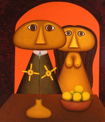Man and woman figures with still life and flowers, Michael Illingworth, 1971, 1971/25