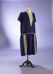 Purple silk shift dress with gold lace trim; 1920s; 2000/128/2