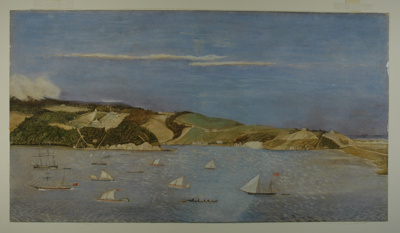 The view of Dunedin in this watercolour by Wilbrah...