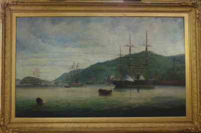 Painting; The landing of Sir George Grey from H.M.S. 'Brisk' at Port Chalmers, 1867; Captain Thomas Robertson (attributed); 1919/134/1559