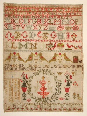 This rather busy sampler is an eighteenth century ...