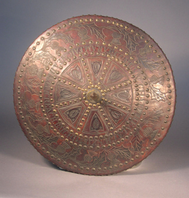 Scottish shield (targe) of wood and leather with l...