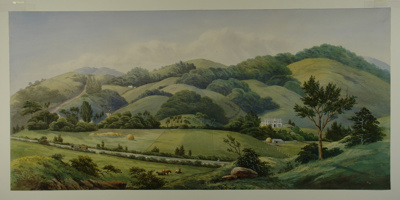 Watercolour view of North East Valley, Dunedin, wi...