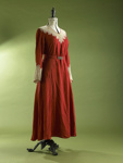 Dress; red cocktail dress with lace trim; Brown Ewing; 1991/189/25