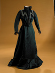 Day dress; dark-green silk skirt and bodice with sequins; c1906; 1998/36/5
