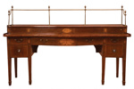 Serpentine mahogany sideboard with ebony and satinwood inlays with porcelain medallions ; Unknown; c 1780; 25-1963