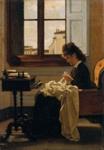 Woman Sitting by a Window Sewing ; Silvestro Lega; 1872; 32-1994