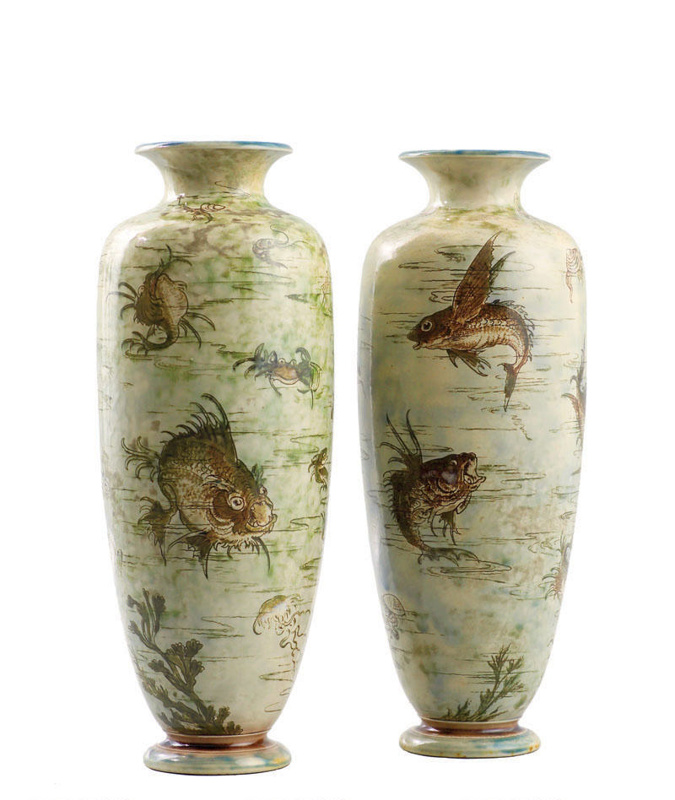 A Pair Of Martinware Vases Martin Brothers 1903 26 27 1955 On