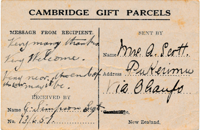 Cambridge Gift Parcel Card; 2090/3