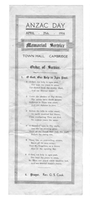 1916 ANZAC Day Order of Service; 805