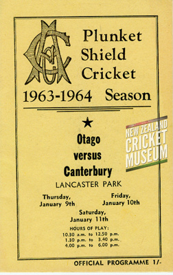 Programme: Canterbury v Otago, Lancaster Park, Christchurch, 9, 10, 11 January 1964; Canterbury Cricket Association; 1964; 01/182