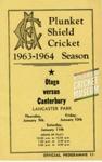 Programme: Canterbury v Otago, Lancaster Park, Christchurch, 9, 10, 11 January 1964; Canterbury Cricket Association; 1964; 01/182