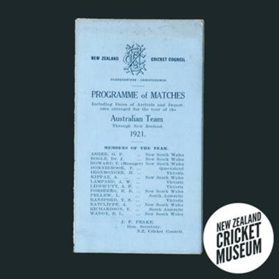 Itinerary: Australia in New Zealand, 1921; New Zealand Cricket Council; 1921; 2016.12.1