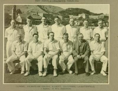 Photo: New Zealand Cricket Team versus Australia, Basin Reserve 29,30 March 1946; MAR 1946; 98/53