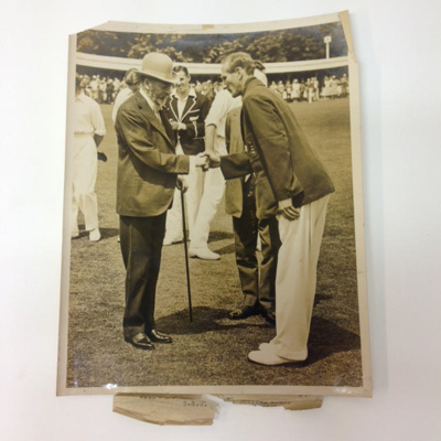 Photo: Douglas Jardine, shakes hands with King George V during the England v New Zealand Test at Lord's, 1931; The Sport & General Press Agency; 1931; 2017.9.2