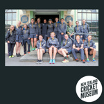 Digital Photo: WHITE FERNS team outside the NZ Cricket Museum, 2016; Mike Lewis; 2016; 2016.19.1