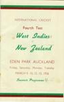 Programme: West Indies v New Zealand (Fourth Test), Eden Park, Auckland, 9, 10, 12, 13 March 1956; Auckland Cricket Association; 1956; 2008.52.5
