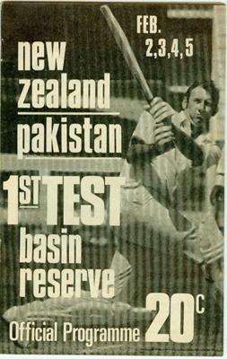 Programme: New Zealand v Pakistan (1st Test), Basin Reserve, Wellington, 2, 3, 4, 5 February 1973; New Zealand Cricket Council; JAN 1972; 2007.14.1