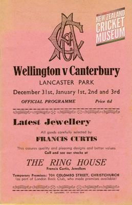 Programme: Canterbury v Wellington, Lancaster Park, Christchurch, 31 December 1947, 1, 2, 3 January 1948; Canterbury Cricket Association; 1947; 2010.12.1