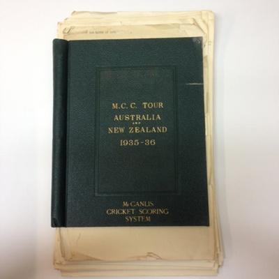 Scorebook: MCC Tour to Australia and New Zealand, 1935-36; 1935; 2015.34.19