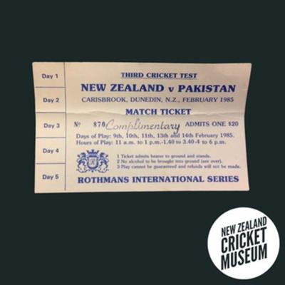 Ticket (Unused): New Zealand v Pakistan, Dunedin, February 1985; 1985; 2016.1.9
