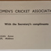 Note: A note that states 'Women's Cricket Association with the Secretary's compliments.' ; 2017.32.117