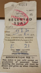 British Railways Train Ticket: Reserved seat from Liverpool to Harwich 04/08/1954. ; 4 August 1954; 2017.32.78