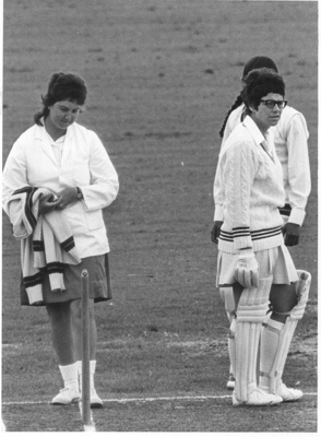 Photo: Trish McKelvey and Gwen Nagel, New Zealand v India. Carisbrook 1977.; 1977; 2018.5.35