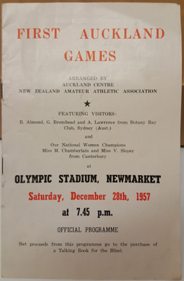Programme: First Auckland Games, 28 December 1957, Olympic Stadium Newmarket.  ; 1957; 2017.32.91