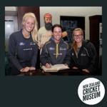 Digital Photo: WHITE FERNS' Hannah Rowe, Erin Bermingham & Leigh Kasperek at the NZ Cricket Museum, 2016; Mike Lewis; 2016; 2016.19.5