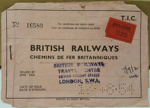 British Railways Ticket Holder: Contains tickets from Dover to Brussels. ; 1954; 2017.32.115