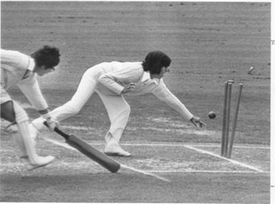 Photo. Trish McKelvey run out, NZ v India 1977.; 1977; 2018.5.33