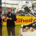 Photograph: Radio presenters at the 1992-93 Shell Cup Final, Carisbrook, Dunedin  ; Shell Photographic Unit; 1993; 2018.14.2