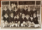 Photograph: 1954 NZ women's team on tour in England pose with unknown official. ; Circa 1954; 2017.32.29